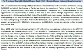 For A Just and Equitable Global Climate Deal, CCNN  demands (CCNN's ask for COP18/CMP8)